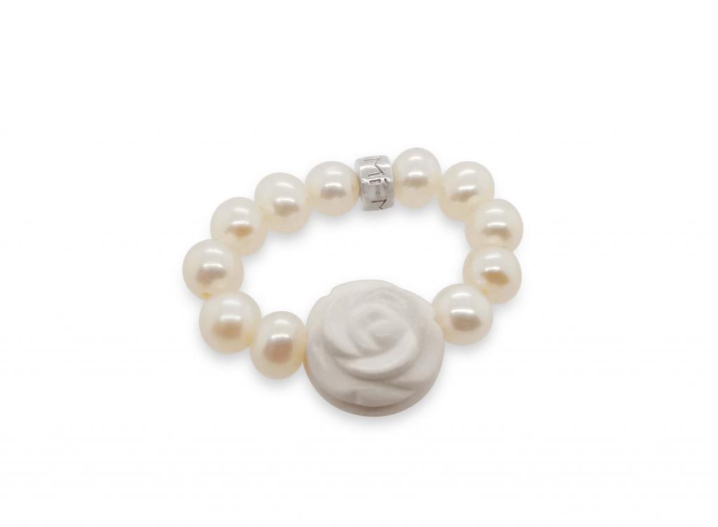 MIMI Anillo Elastica Perlas y Flor en Ágata Blanca