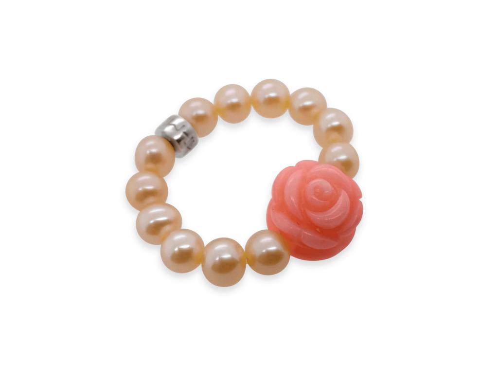 MIMI Anillo Elastica Perlas Rosa y Flor en Coral Rosa