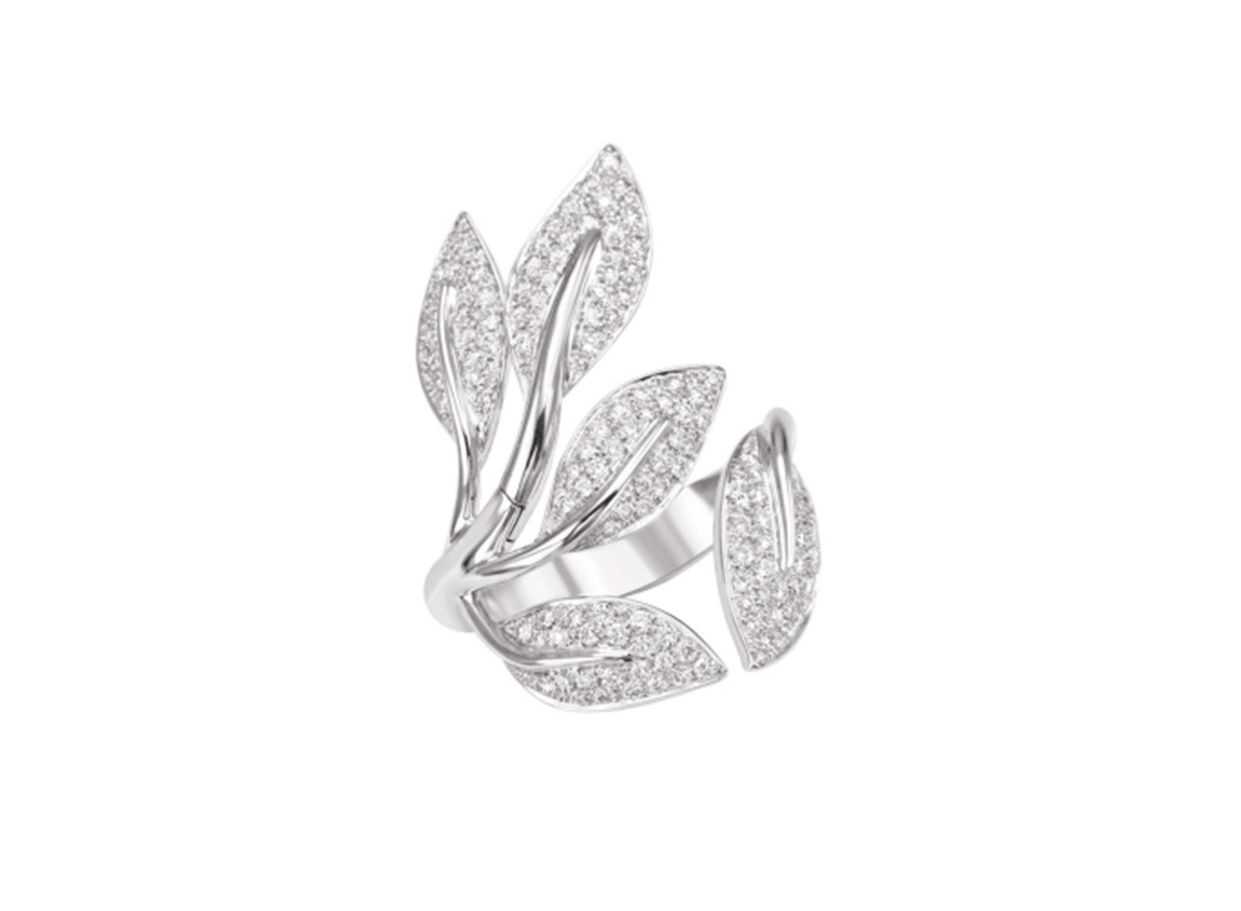 MIMI Anillo Foglia Oro Blanco y Diamantes