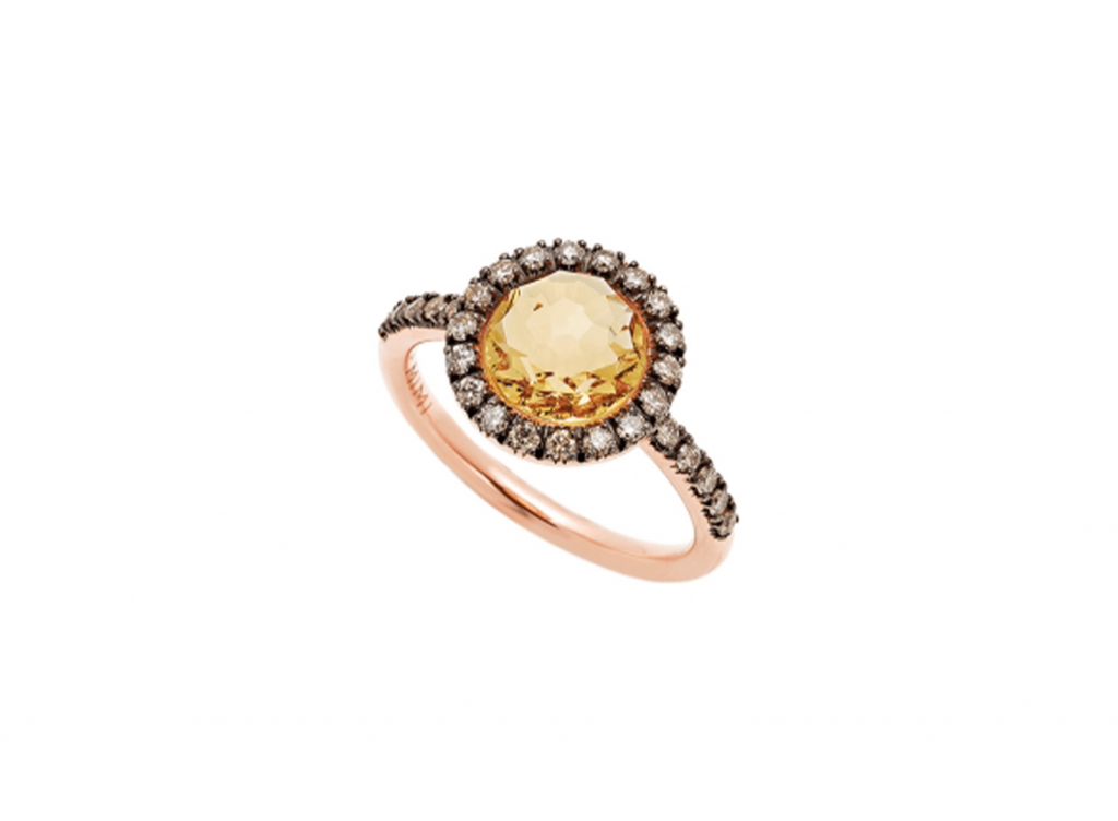 MIMI Anillo Happy Citrina y Diamantes Brown