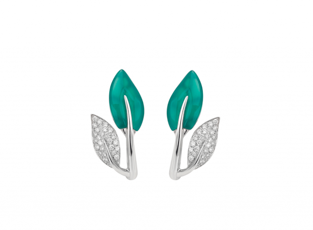 MIMI Aretes Foglia Diamantes y Ágata Verde