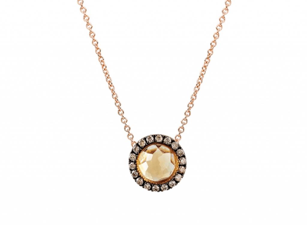 MIMI Collar Happy - Cuarzo Citrino y Diamantes