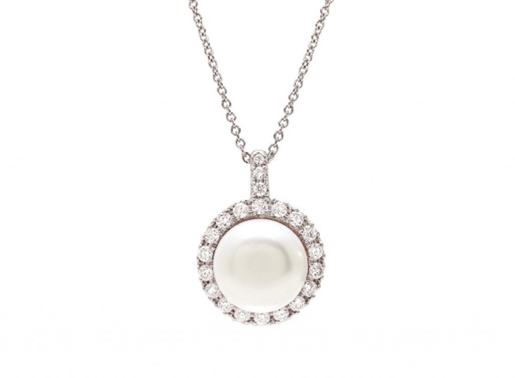 MIMI Collar Happy - Perla Blanca y Diamantes