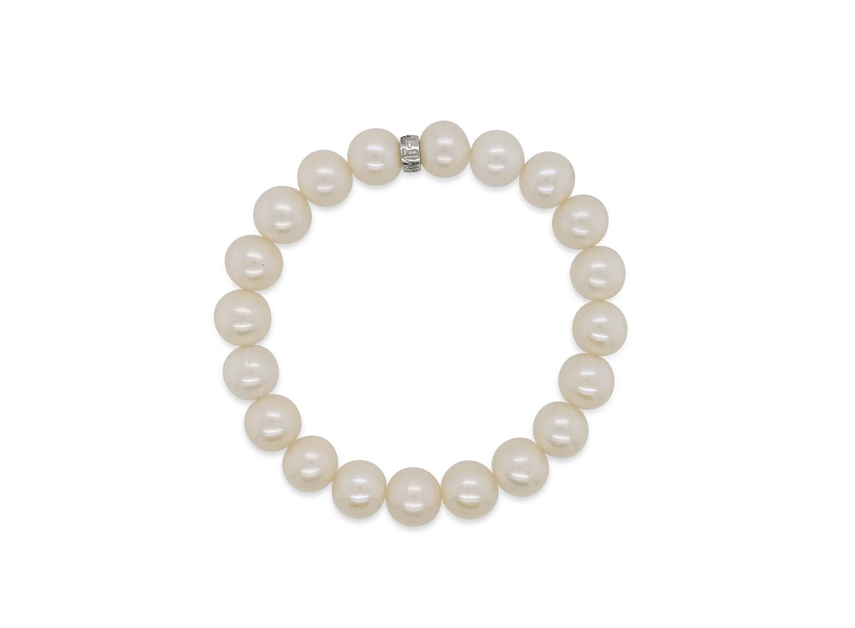 MIMI Pulsera Elastica Perlas Blancas
